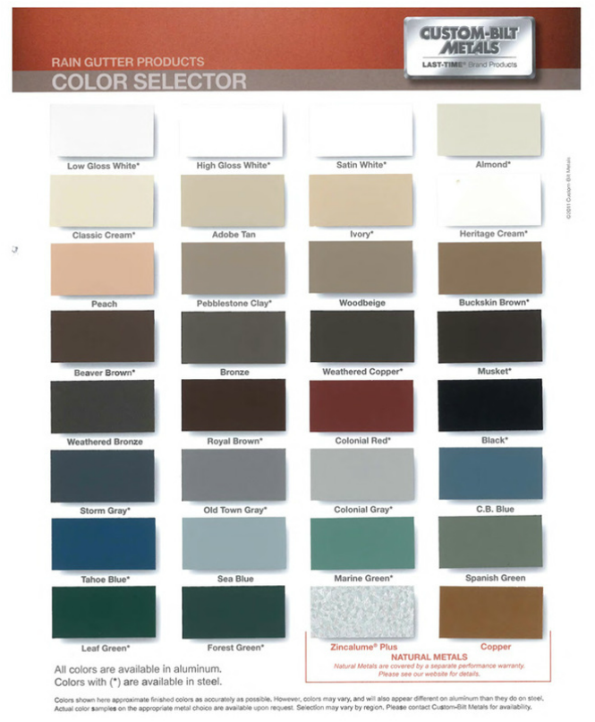 Colors,Finishes,Patinas - A Plus Gutter Systems of Los Angeles and ...